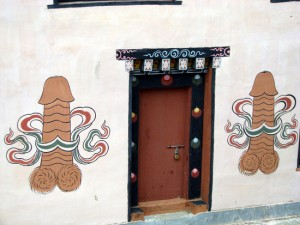 Buhutanese house with wall paintings of Drukpa Kunley's penis